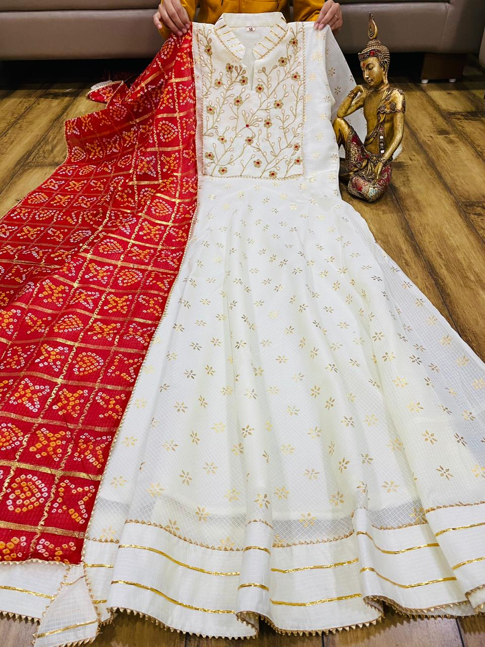 White Kota Doria Gown With Red Dupatta