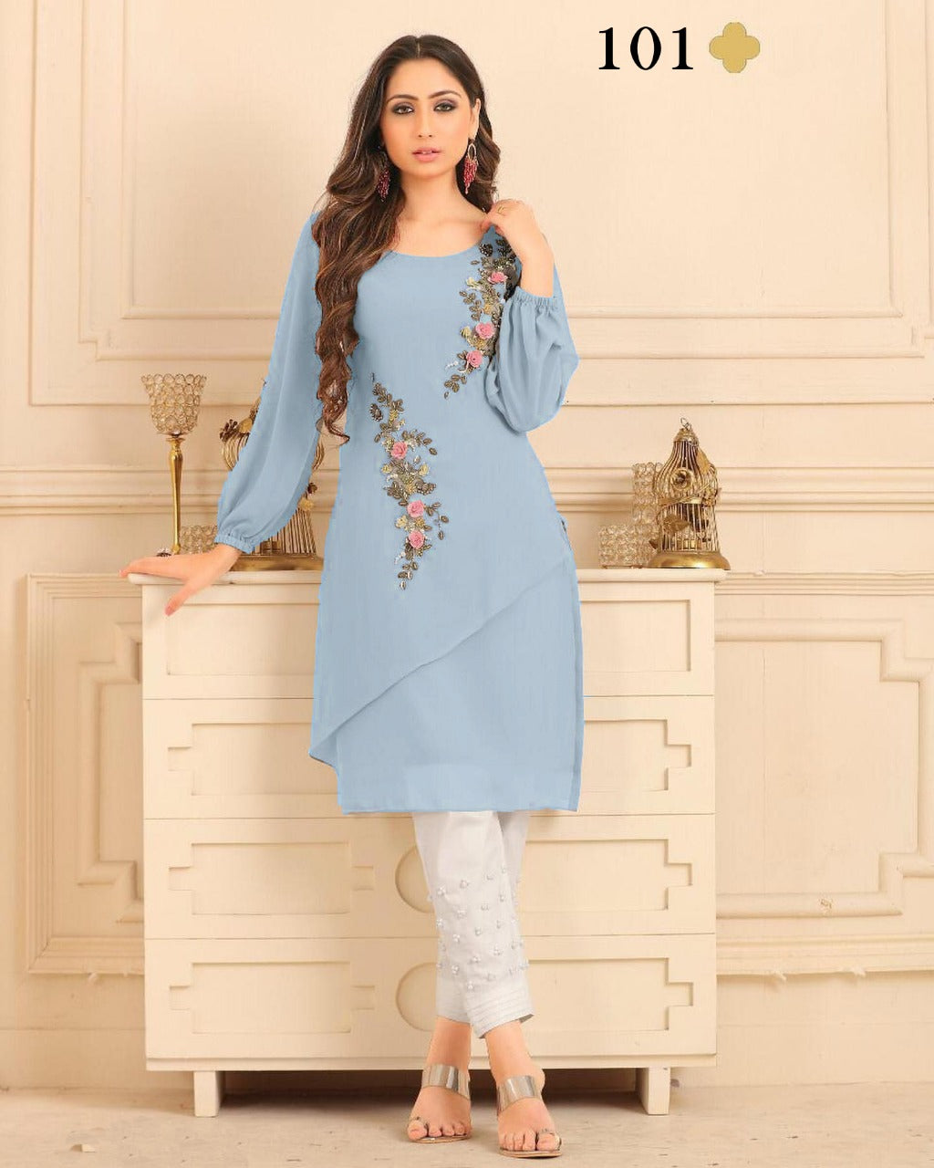 Light Blue   Diamond Georgette Top & Pant