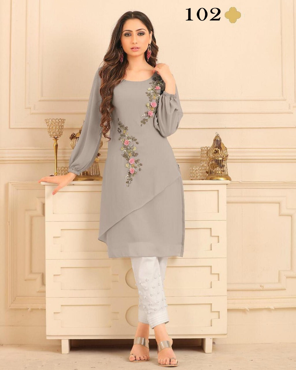 Light Grey  Diamond Georgette Top & Pant