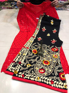 Bright Red Chickankari Sequence Work Kurti & Handwork Pure Georgette Sharara Set