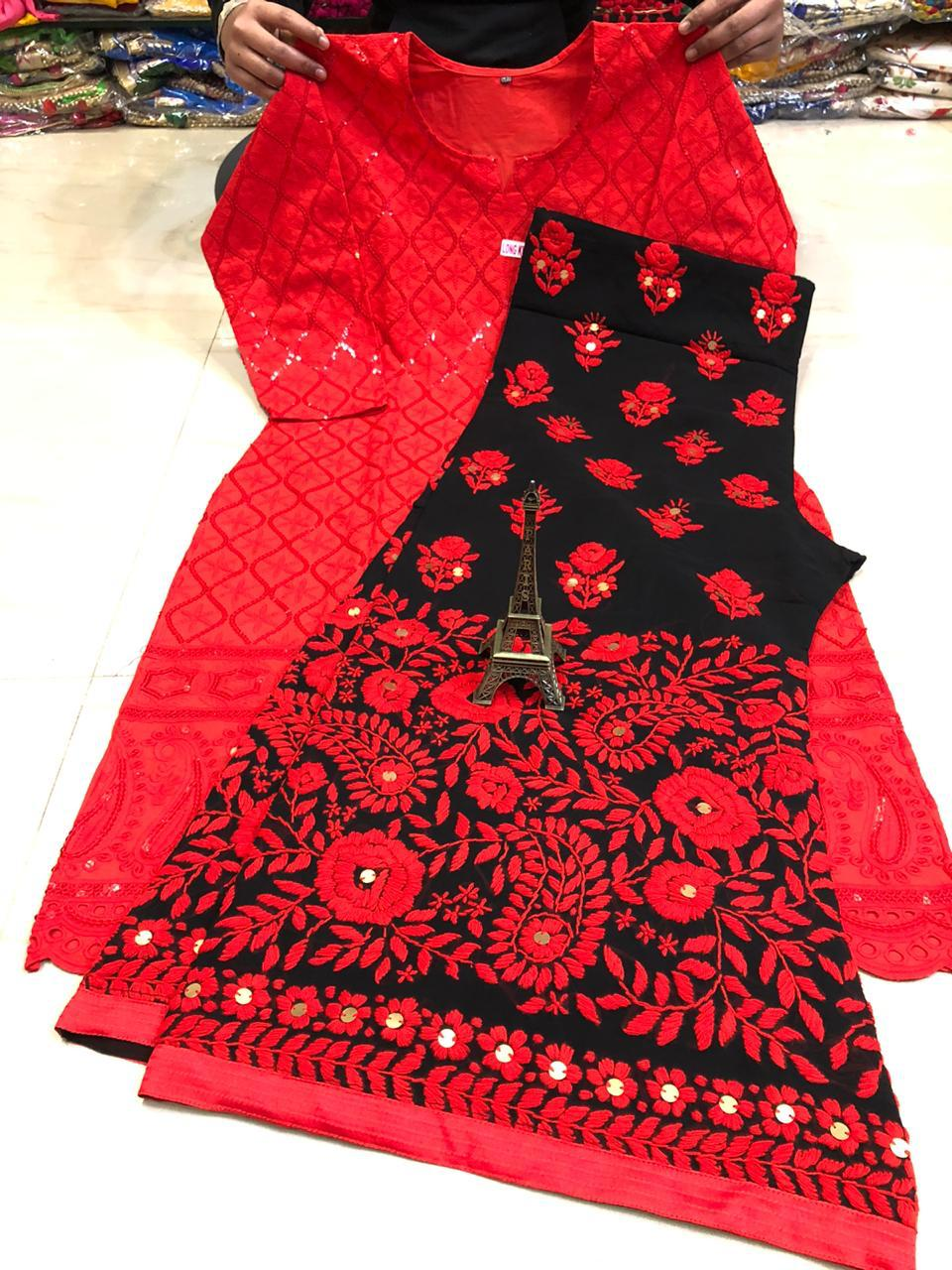 Red  Chickankari Sequence Work Kurti & Handwork Pure Georgette Sharara Set