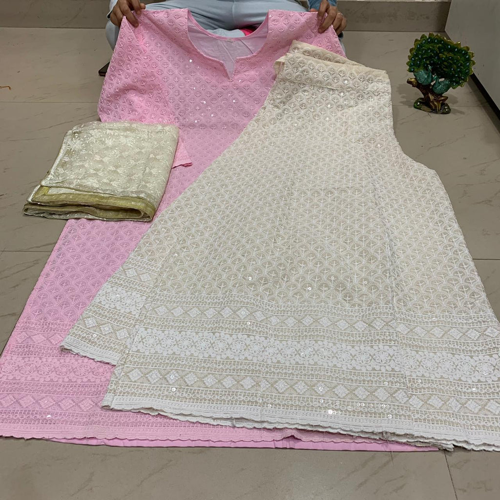 Light Pink  Chikankari Kurti & Chikankari Kali Sharara Set  With Dupatta