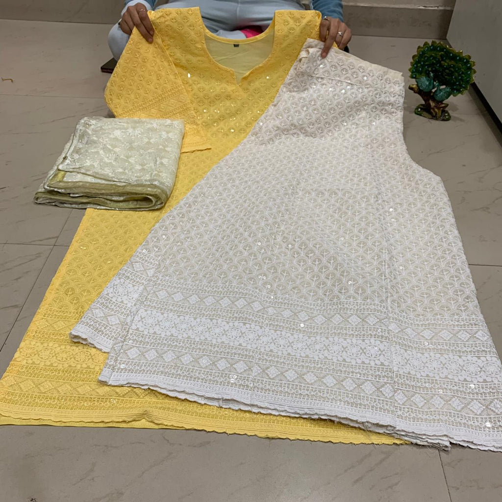 Yellow  Chikankari Kurti & Chikankari Kali Sharara Set  With Dupatta