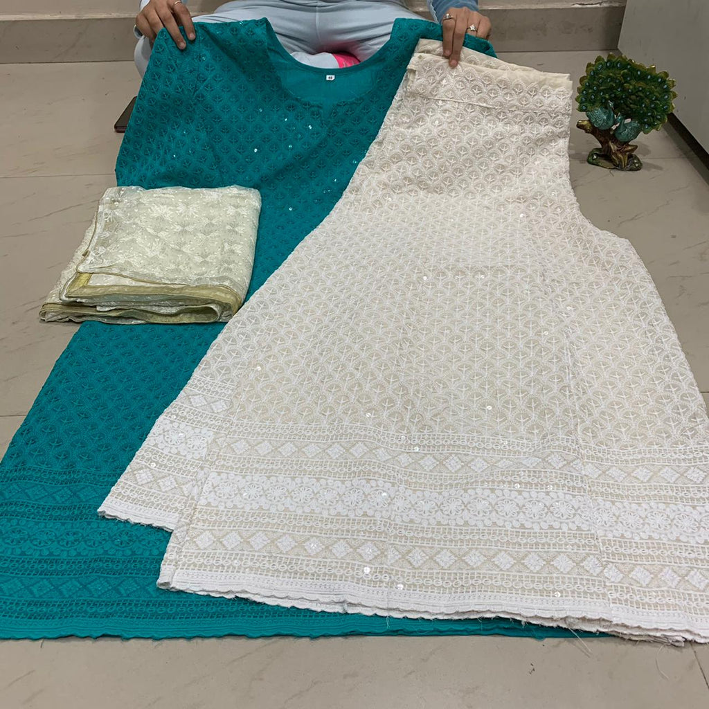 Teal Blue  Chikankari Kurti & Chikankari Kali Sharara Set  With Dupatta
