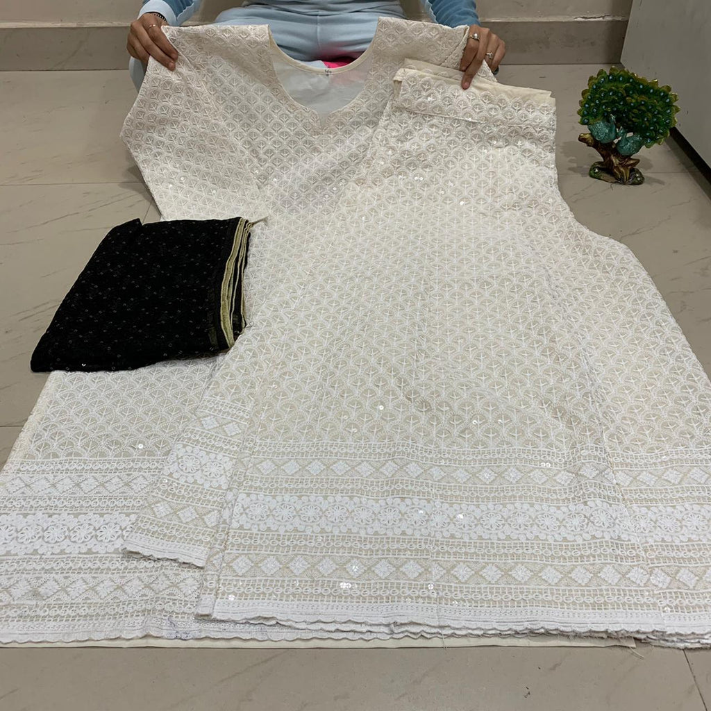 White   Chikankari Kurti & Chikankari Kali Sharara Set  With Dupatta