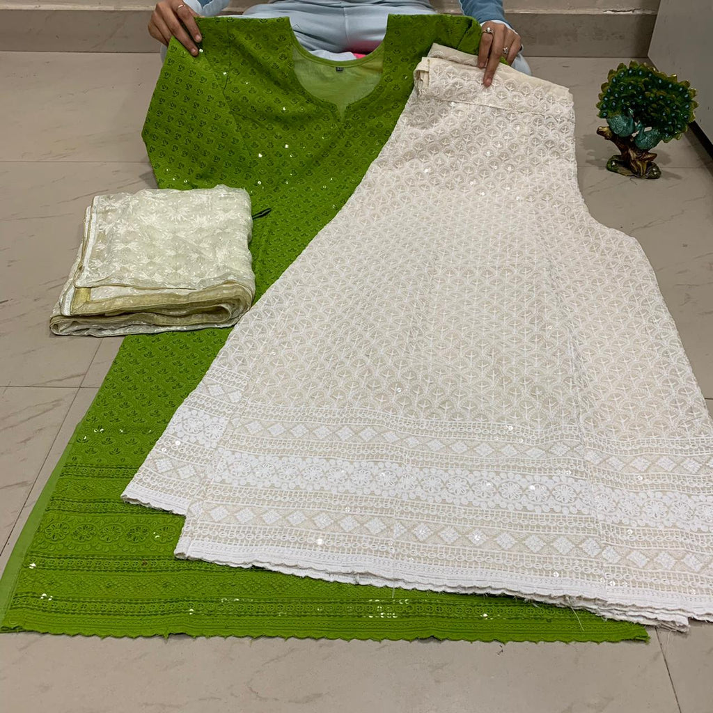 Green  Chikankari Kurti & Chikankari Kali Sharara Set  With Dupatta
