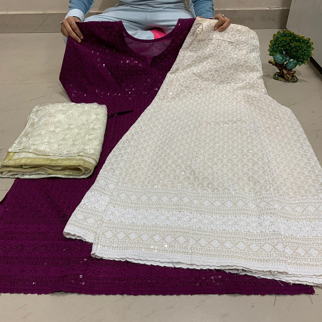 Wine  Chikankari Kurti & Chikankari Kali Sharara Set  With Dupatta
