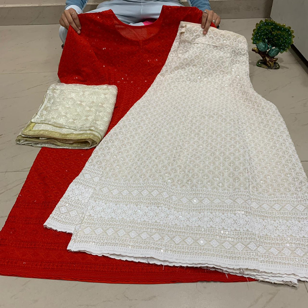 Red  Chikankari Kurti & Chikankari Kali Sharara Set  With Dupatta