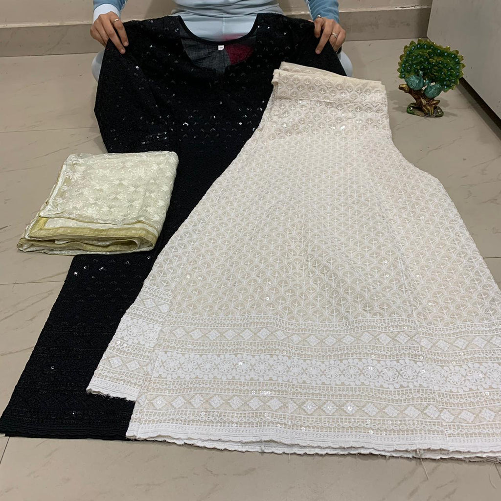 Black  Chikankari Kurti & Chikankari Kali Sharara Set  With Dupatta