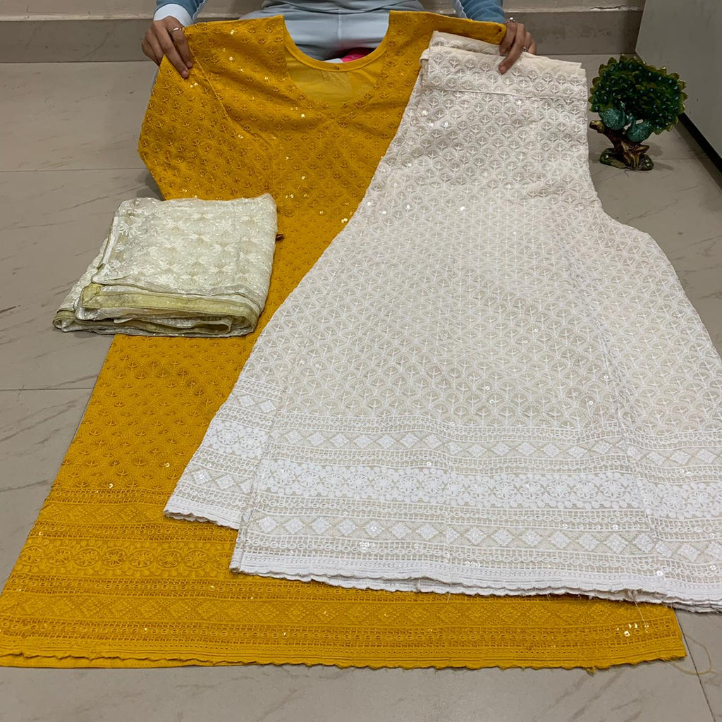 Mustard Yellow   Chikankari Kurti & Chikankari Kali Sharara Set  With Dupatta