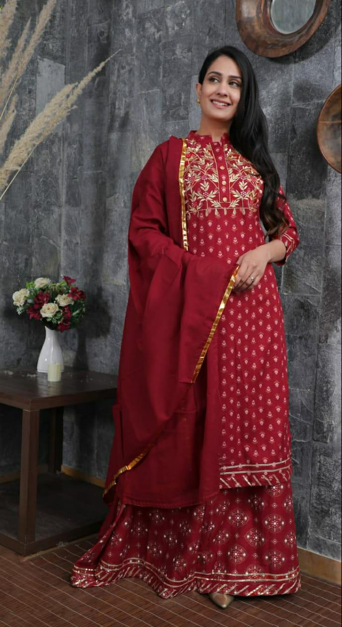 Elegent Red Stylish Kurti With Skirt & Dupatta
