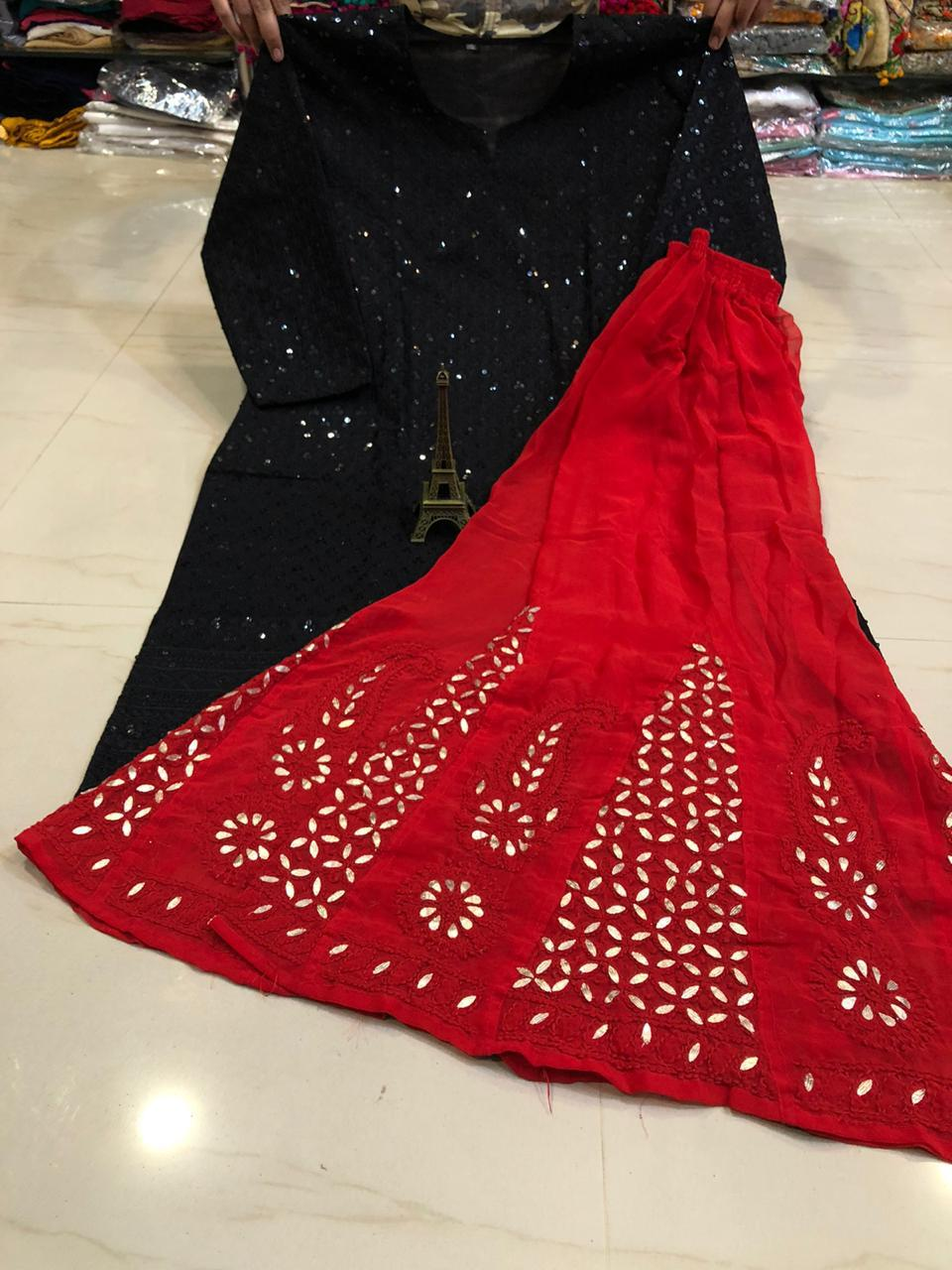 Black  Chikan Handwork Kurti & Red  Gota Patti Sharara