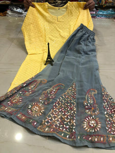 Yellow   Chikan Handwork Kurti & Grey   Gota Patti Sharara