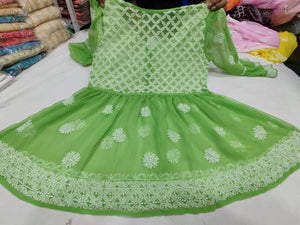 Green  Georgette Short Gown