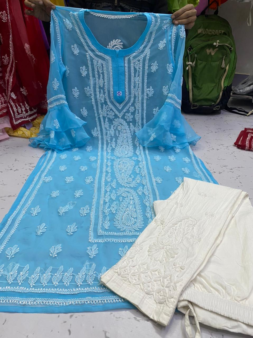 Light Blue  Georgette Bell Sleeves Kurti and Pant Sets