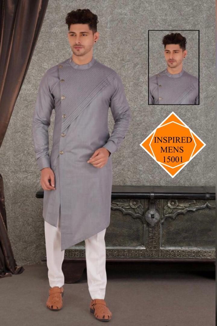 Light Grey   Cotton Hand Stitch  Men's Kurti & White Pant