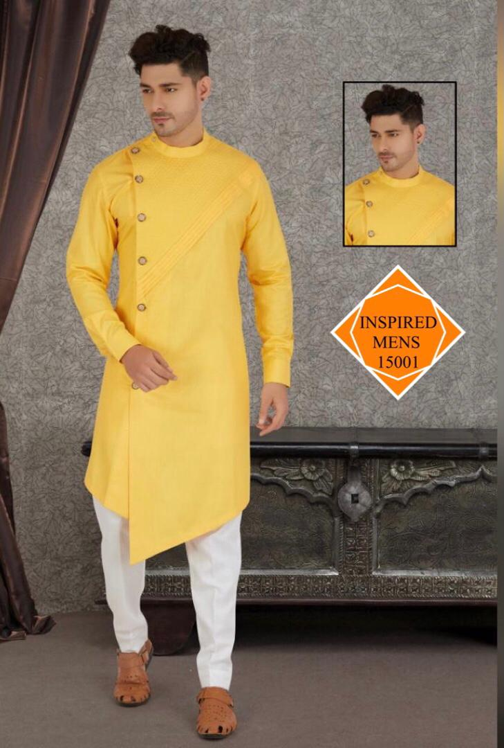 Yellow    Cotton Hand Stitch  Men's Kurti & White Pant