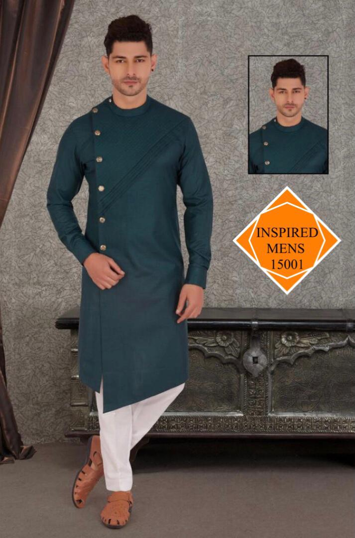 Darkest Green  Cotton Hand Stitch  Men's Kurti & White Pant