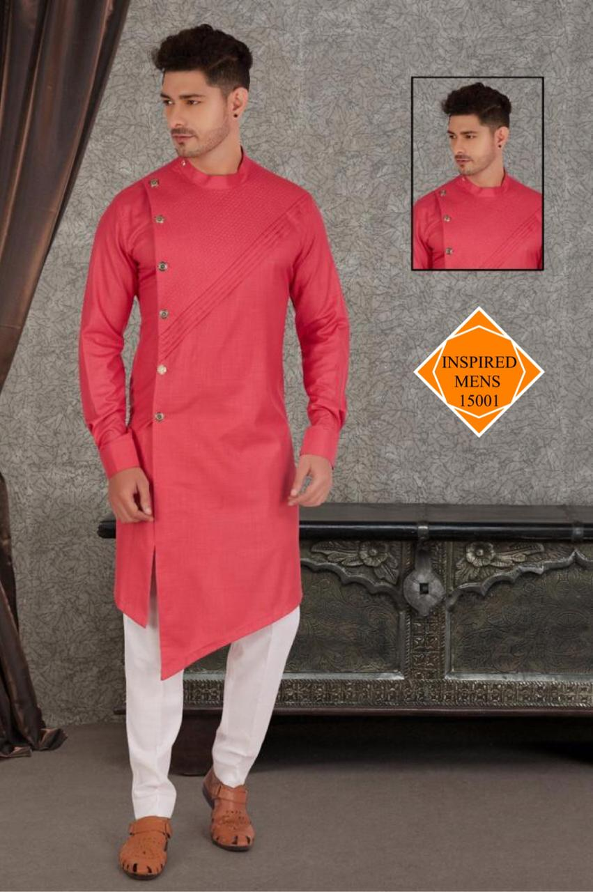 Light Red  Cotton Hand Stitch  Men's Kurti & White Pant
