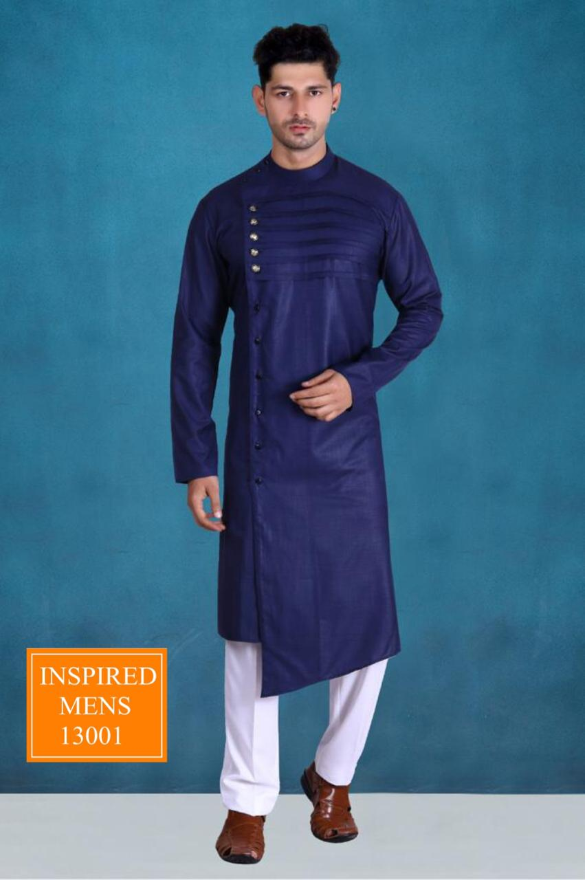Purple Cotton Designer Men's Kurti & White Pant