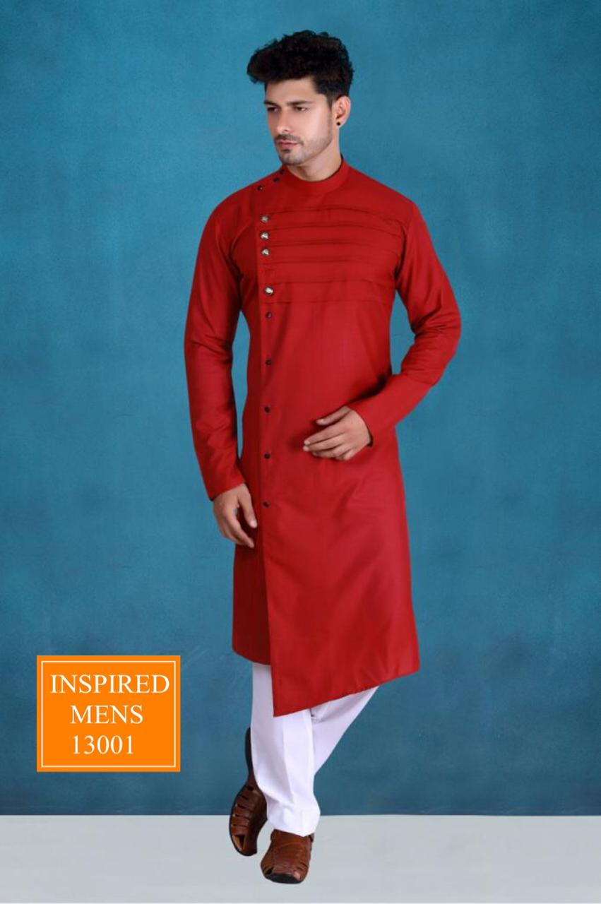 Red  Cotton Designer Men's Kurti & White Pant