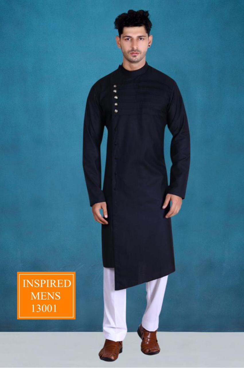 Black  Cotton Designer Men's Kurti & White Pant