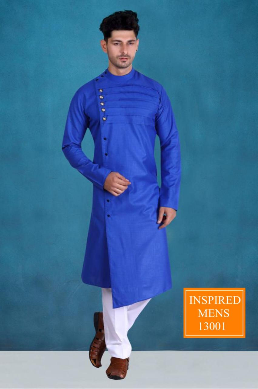 Blue Cotton Designer Men's Kurti & White Pant