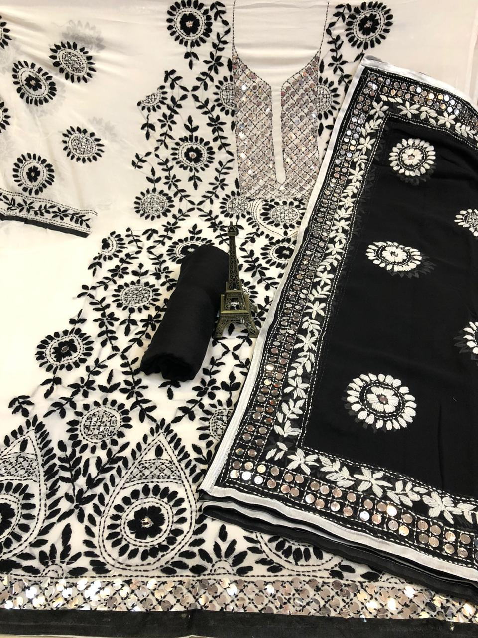 White &  Black  Pure Georgette Suit With Dupatta