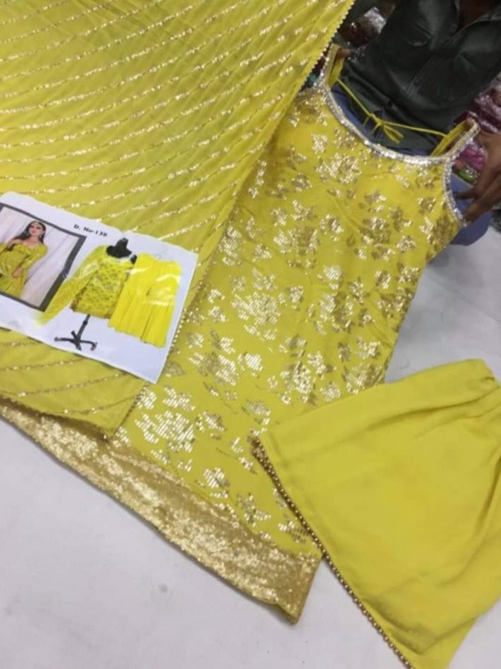 Yellow Georgette Sequins Embroidery Punjabi Suit with Pant and Dupatta