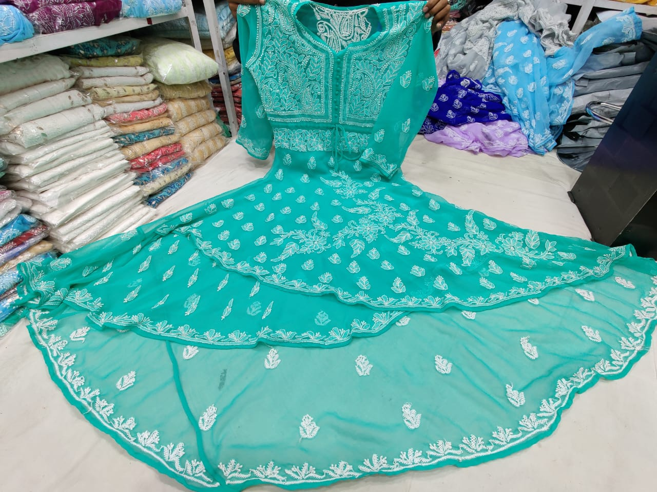 Teal Blue Three Layered  Georgette Gown