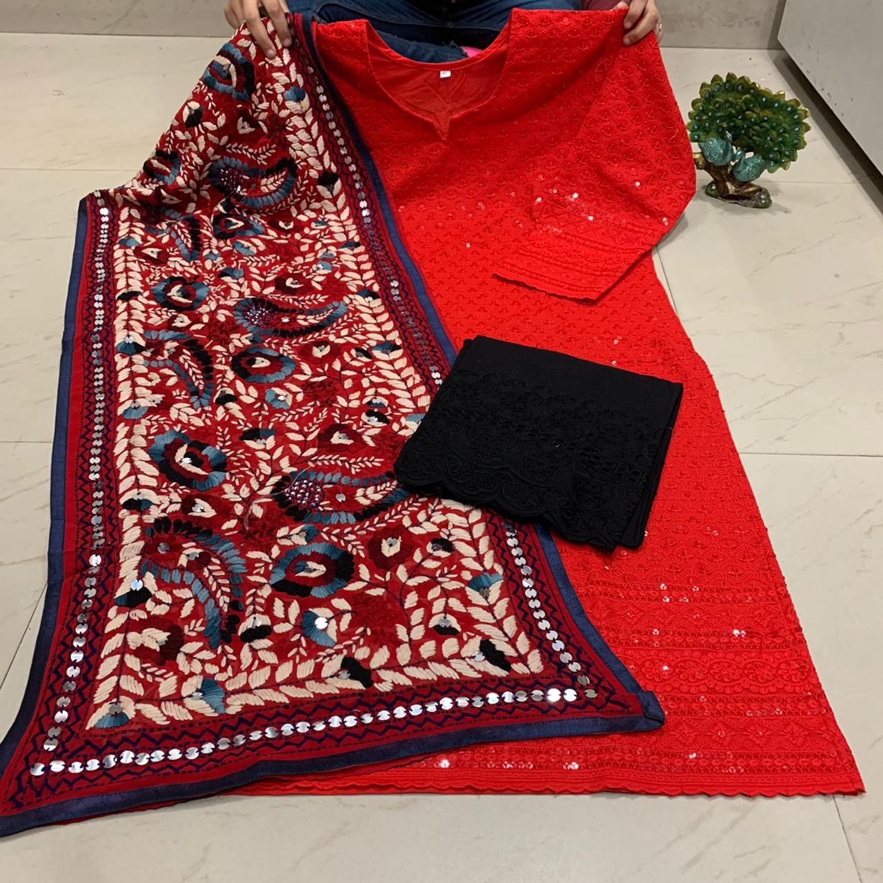 Red  Chickenkari Kurti With Black  Plazoo & Stole