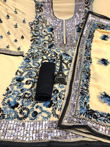 Beige  Georgette With Blue& Black Flower Print  Suit and Dupatta With Black Rayon Salwar