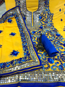 Yellow  Georgette Suit  With Blue Flower Print   and Dupatta With Blue Rayon Salwar
