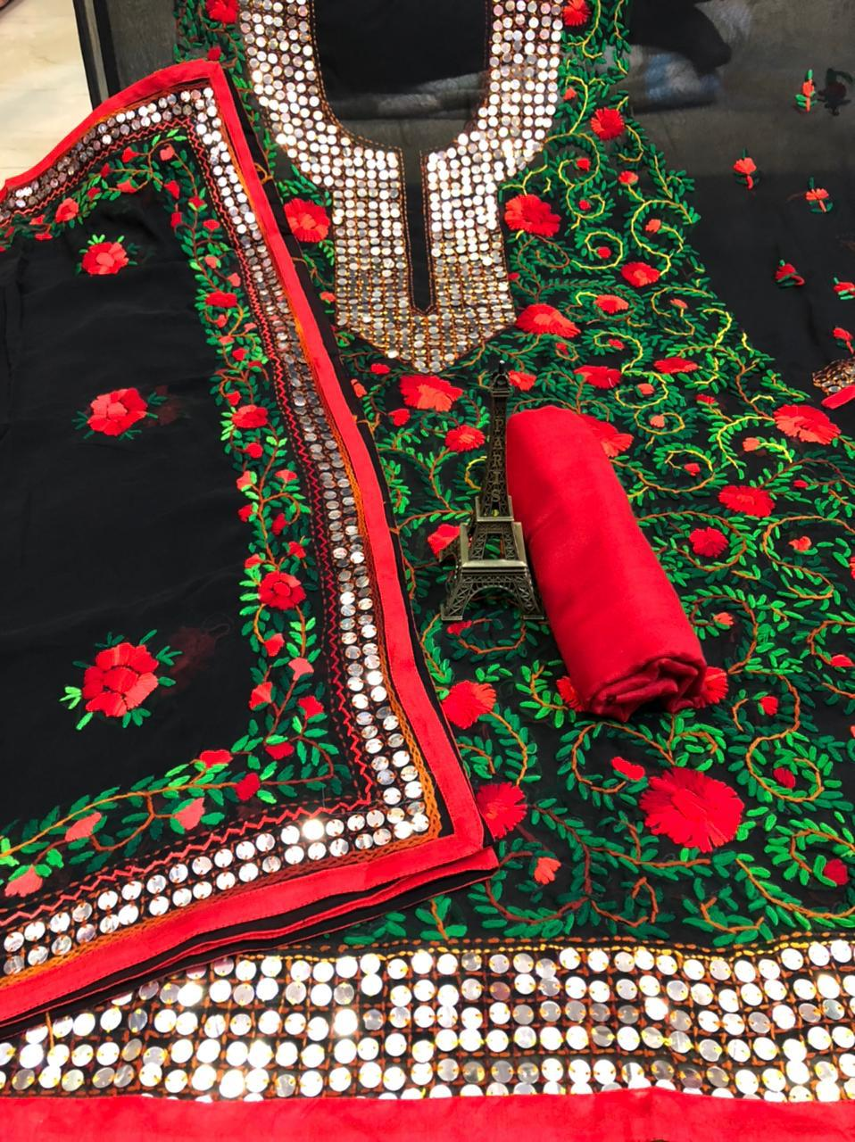 Black  Georgette Suit  With Red & Green  Flower Print  and Dupatta With Red  Rayon Salwar