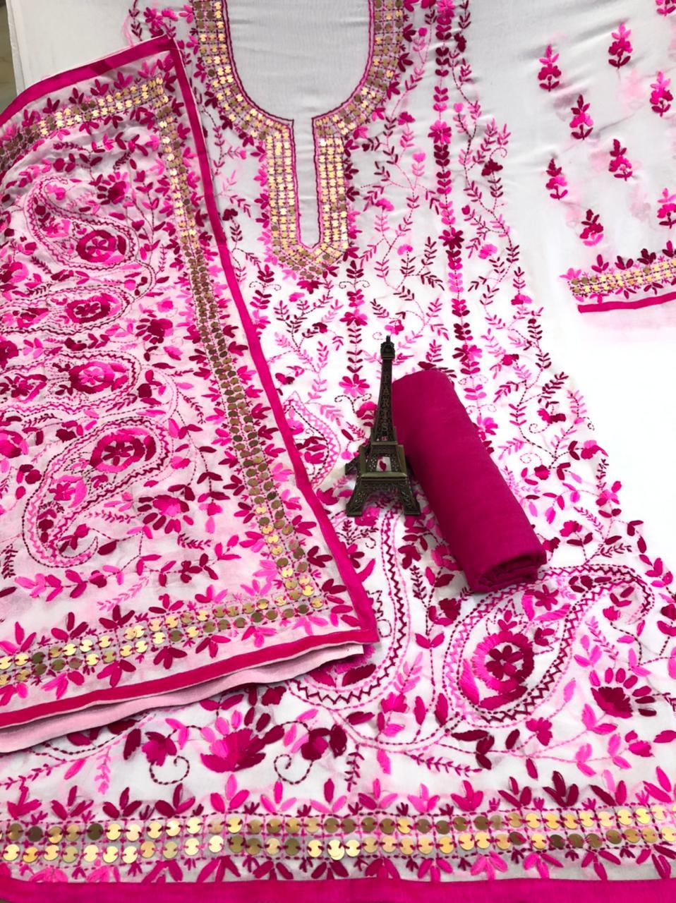 White  Georgette Suit  With  Pink  Flower Print  and Dupatta With Dark Purple  Rayon Salwar