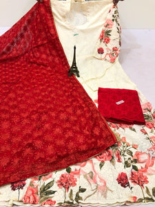 White Print Anarkali Suit With  Dark Red   Plazzo &   Red  Phulkari Dupatta Set