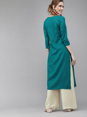 Turquoise Blue and cream-coloured Embroidered Kurti With Plazo