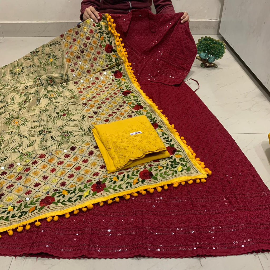 Beautiful HandWork Dupatta & Maroon Chickenkari Anarkali Seqeunce work and  Mustard Yellow  Chicken Work Plazoo Zari work