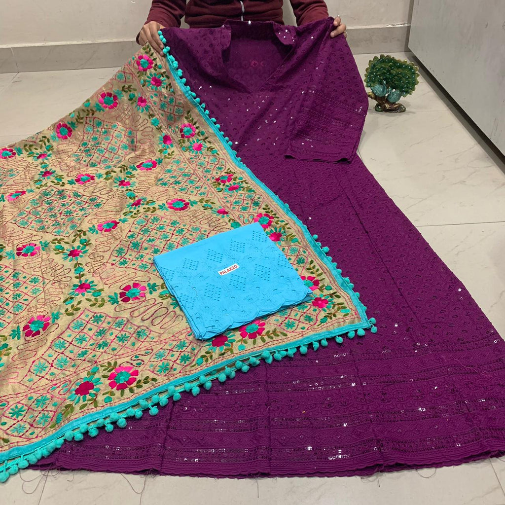 Beautiful HandWork Dupatta & Dark Purple Chickenkari Anarkali Seqeunce work and  Sky Blue  Chicken Work Plazoo Zari work