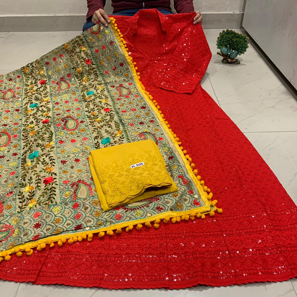Beautiful HandWork Dupatta & Bright Red  Chickenkari Anarkali Seqeunce work and  Yellow  Chicken Work Plazoo Zari work