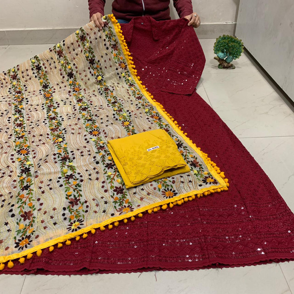 Beautiful HandWork Dupatta &  Dark Maroon  Chickenkari Anarkali Seqeunce work and  Yellow  Chicken Work Plazoo Zari work