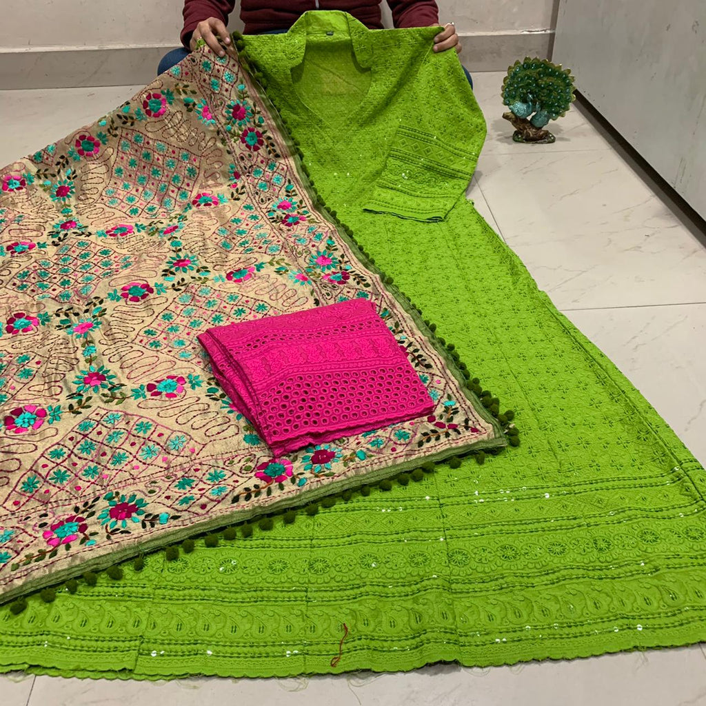 Beautiful HandWork Dupatta &  Parrot Green  Chickenkari Anarkali Seqeunce work and  Bright Pink  Chicken Work Plazoo Zari work