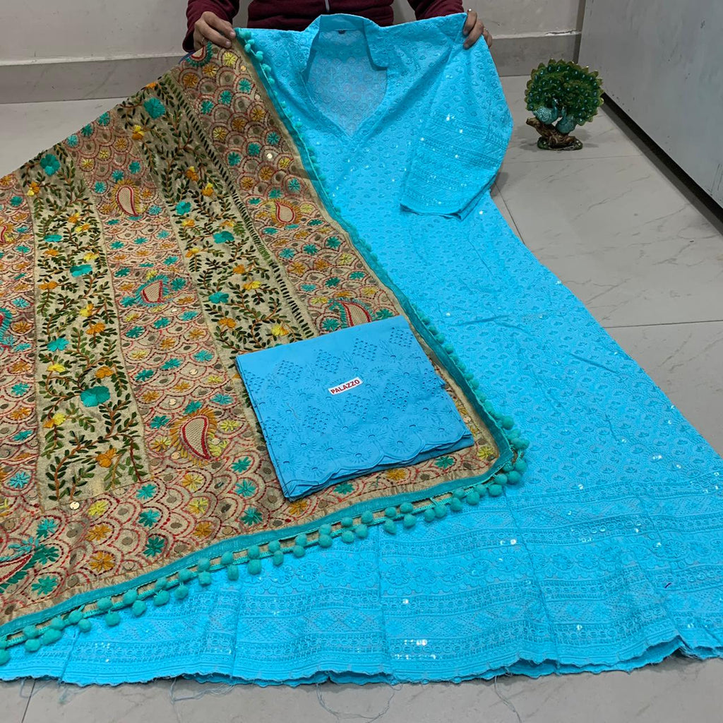 Beautiful HandWork Dupatta &  Sky Blue  Chickenkari Anarkali Seqeunce work and  Sky Blue  Chicken Work Plazoo Zari work
