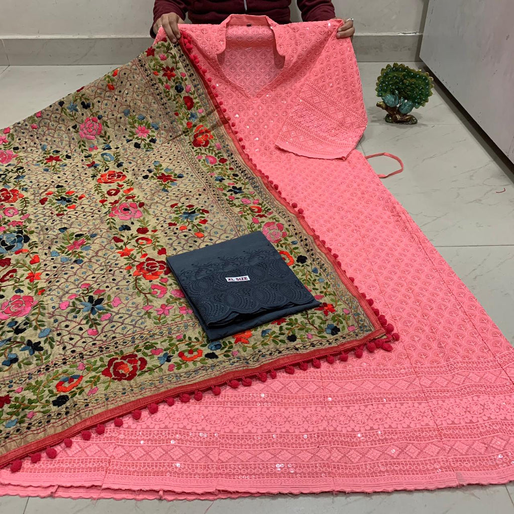 Beautiful HandWork Dupatta &  Peach Pink  Chickenkari Anarkali Seqeunce work and   Chicken Work Plazoo Zari work