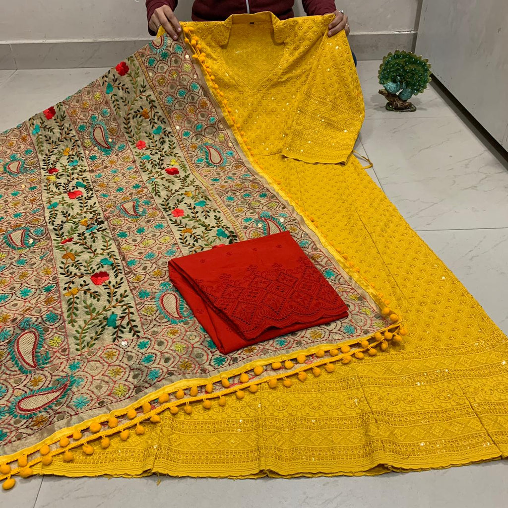 Beautiful HandWork Dupatta & Mustard Yellow  Chickenkari Anarkali Seqeunce work and  Chicken Work Plazoo Zari work