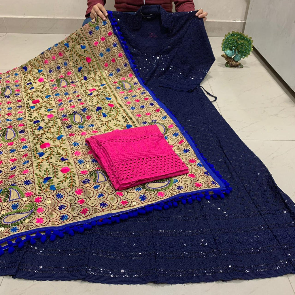 Beautiful HandWork Dupatta &  Navy Blue  Chickenkari Anarkali Seqeunce work and Bright Pink  Chicken Work Plazoo Zari work