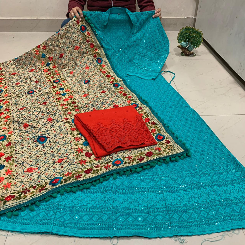 Beautiful HandWork Dupatta &  Teal  Blue  Chickenkari Anarkali Seqeunce work and   Chicken Work Plazoo Zari work