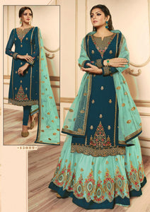 Dark Teal Green  Top, Lehenga  &  Net Embriodery Dupatta