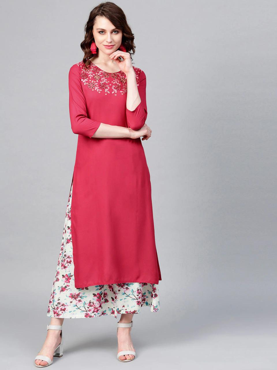 Pink & Sea Green Yoke Design Kurta With Plazzos