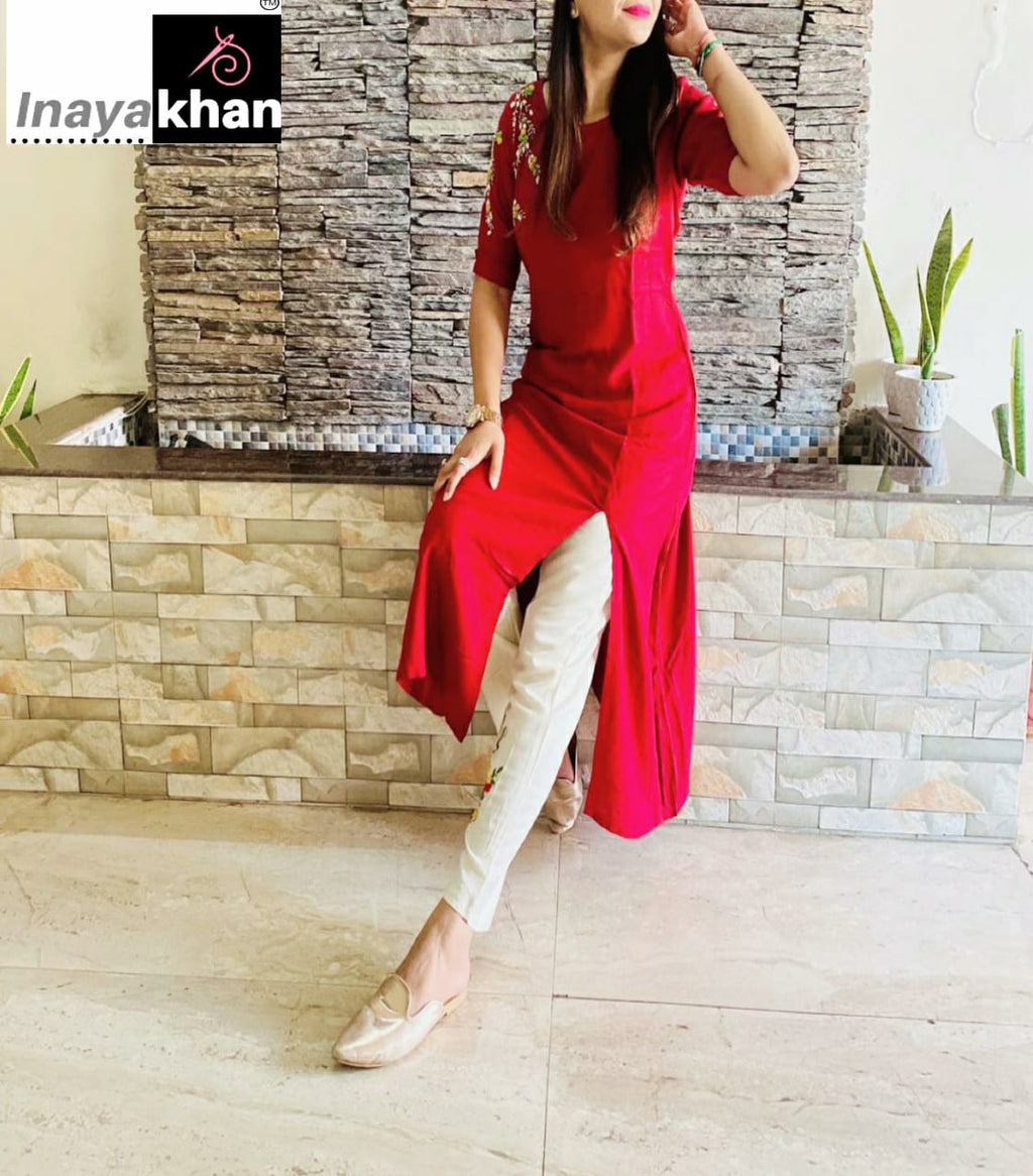 Red Stylish Side Slit Kurta With White Pants